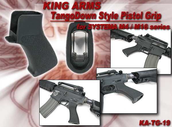King Arms TangoDown Style Pistol Grip for SYSTEMA M4/M16 Series - BK